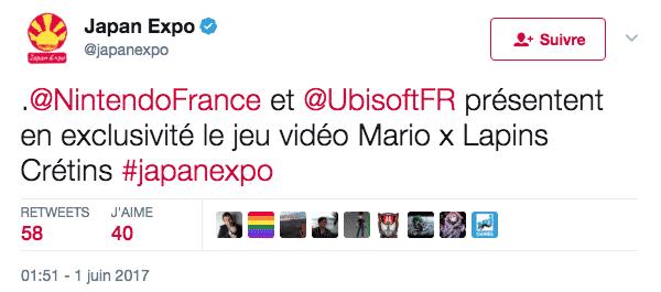 Le compte Twitter de la Japan Expo a confirmé la présence du jeu Mario x Lapins Crétins