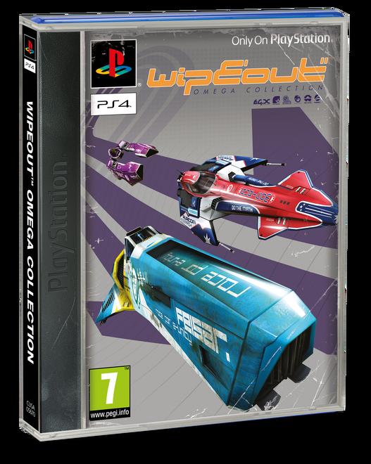 Pochette PS1 de WipEout Omega Collection, jeu offert sur le PlayStation Plus en août 2019.